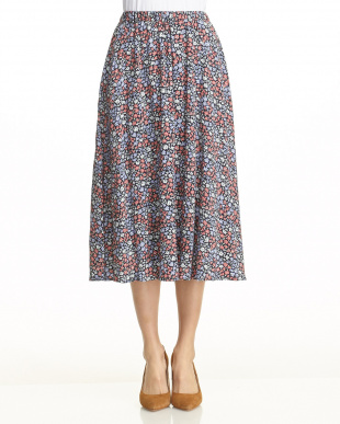 ネイビー  花柄レーヨンフレアスカート見る