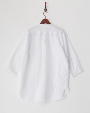 ホワイト  綿麻7分袖バンドカラーシャツ見る