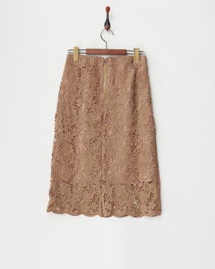 ベージュ  レースタイトスカート見る