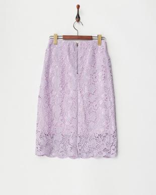 パープル  レースタイトスカート見る