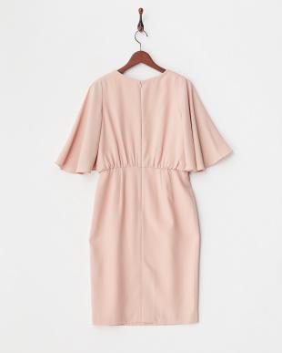 ピンク 袖フレアードレス見る