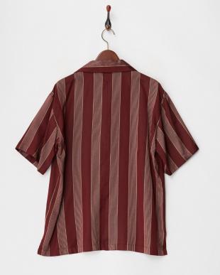 STRIPE/BORDEAUX  ジャカード柄シルクシャツ見る