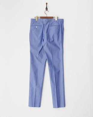 ブルー ストレッチ入りノータック綿パンツ見る