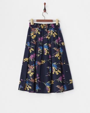 ネイビー  フラワープリント ギャザースカート見る