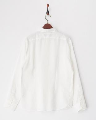 ホワイト  リネンナチュラルストレッチ製品染めシャツ見る