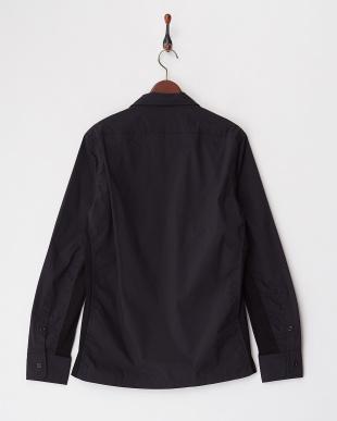 ブラック  スイスコットンナイロンタイプライターシャツ見る