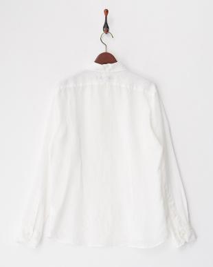 ホワイト  リネンナチュラルストレッチガーメントダイシャツ見る