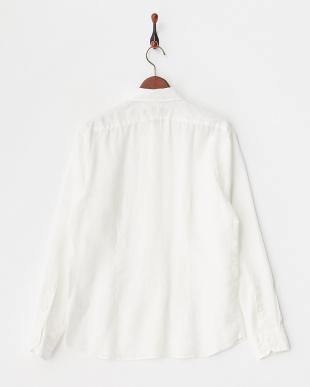 ホワイト リネンナチュラルストレッチシャツ見る