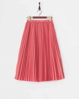 ピンク アコーディオンプリーツミディスカート見る