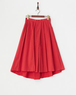 レッド ランダムタックフィッシュテールスカート見る
