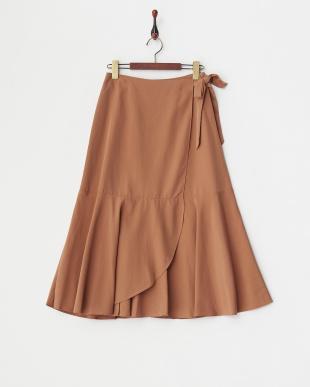 L/ブラウン  フレアヘムラップロングスカート見る