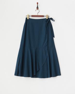 インクブルー  フレアヘムラップロングスカート見る