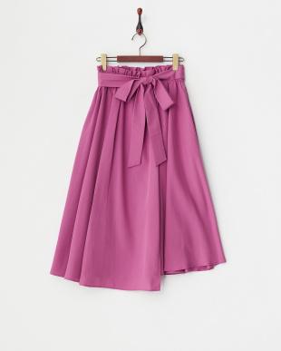 D/ピンク ウエストリボンモダールラップスカート見る