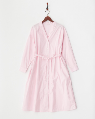 L/ピンク  コットンテーラーカラーシャツワンピース見る
