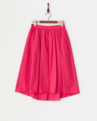 ピンク イレギュラーヘムコットンギャザースカート見る