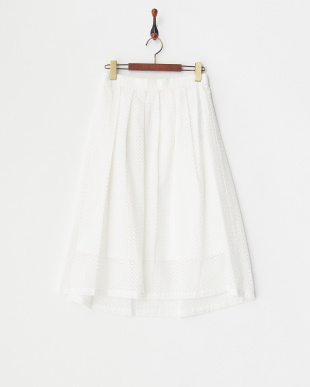オフホワイト スクエアレーススカート見る