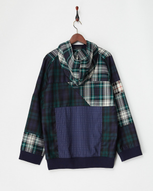 PLAID MULTI PLAID PATCHWORK PULLOVER HOODY|WOMEN見る