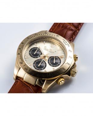 ゴールド×シルバーゴールド  腕時計・クロノグラフ/レザーバンド見る