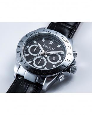 シルバー×ブラック  腕時計・クロノグラフ/シルバー/レザーバンド見る