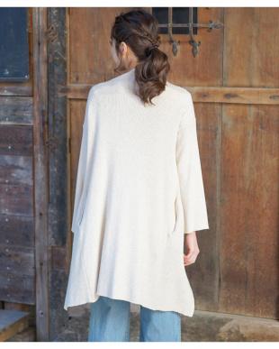 アイボリー  12GGコットン杢糸 片畦ニット・ベルスリーブガウン|WOMEN見る