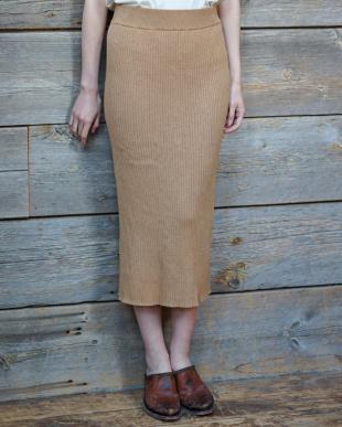 オレンジ 7GGコットン杢糸 リブニット・スリットスカート|WOMEN見る