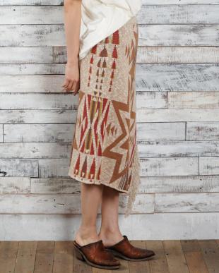 キャメル 綿麻Mix BEACON BLANKETニット・フリンジスカート|WOMEN見る