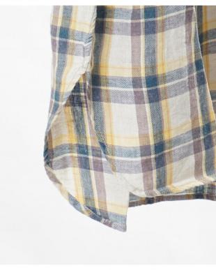 イエロー  コットンリネン チェック オーバーシャツ|WOMEN見る