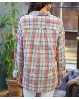 レッド  コットンリネン チェック オーバーシャツ|WOMEN見る