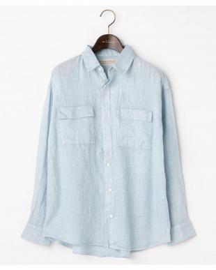 サックス  リネンピグメント 2WAYボーイズシャツ|WOMEN見る