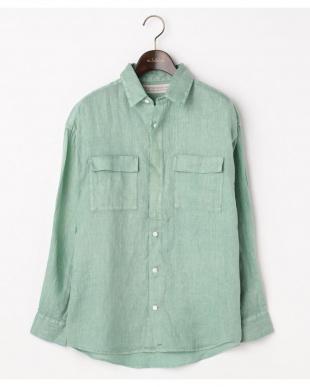 グリーン  リネンピグメント 2WAYボーイズシャツ|WOMEN見る