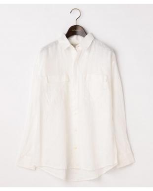 オフホワイト  リネンピグメント 2WAYボーイズシャツ|WOMEN見る