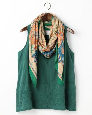 グリーン  Indiaシャドウステッチ・ハンド刺繍トップスストールSet|WOMEN見る