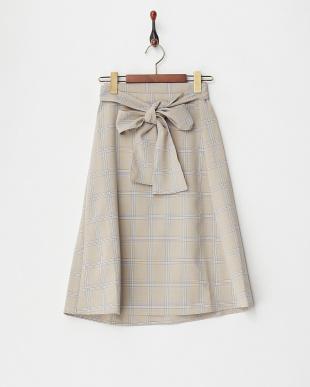 ベージュ  リボンベルト付きスカート見る