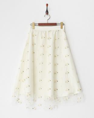ホワイト  フラワー刺繍チュールスカート見る