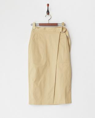 ベージュ  Dカン付きラップスカート見る