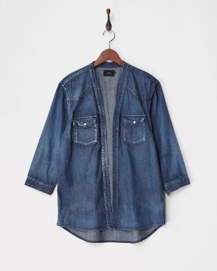 ブルー001  6.5ozデニム 3/4 シャツ 羽織りカーディガン見る