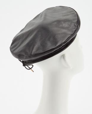 BLACK  レザーベレー帽見る