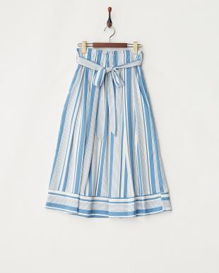 サックス リボンベルトストライプスカート見る