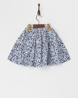 ネイビー系 小花柄フレアスカート見る