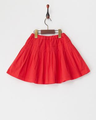 レッド  リボン付きプリーツスカート見る