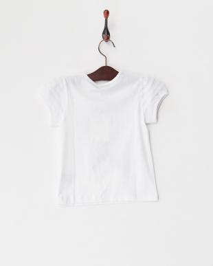 ホワイト  チュール袖 PARISプリントTシャツ見る