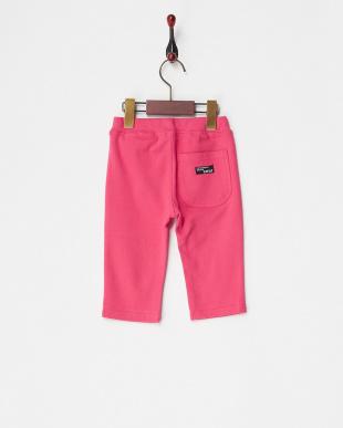 ピンク  ストレッチミラノリブ6分丈パンツ見る