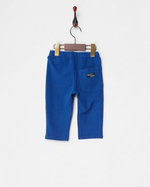 ブルー  ストレッチミラノリブ6分丈パンツ見る