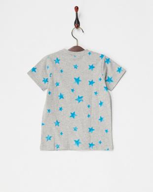 グレー系  手描き風スター総柄プリントTシャツ見る
