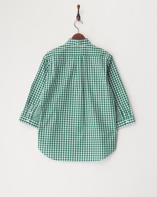 GREEN  ギンガムチェック切り替え7分袖シャツ見る