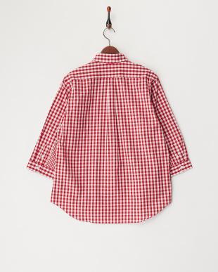 RED ギンガムチェック切り替え7分袖シャツ見る