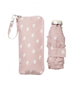 ピンク  NATURAL DOT 折傘5段折 雨晴兼用見る