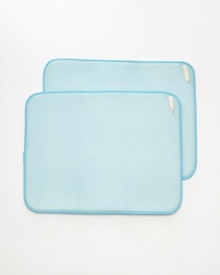 ブルー 食器用水切り(ドライングマット)M 2枚組 オヤサイ見る