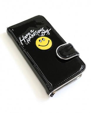 ブラック  メタリックハンサムスマイルiPhoneケース見る