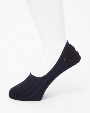 ネイビー/ブラック ソールメッシュ・強撚糸使用 ストライプ柄 シューズインソックス 2足組見る